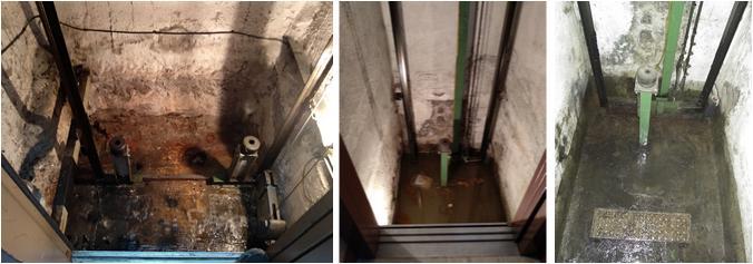 Agua en foso de ascensor