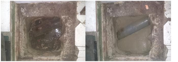 Desatasco de arqueta y reparación de tubería en edificio de comunidad de propietarios